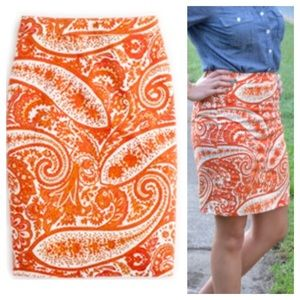 J. Crew Orange Paisley Pencil Skirt  Size 4